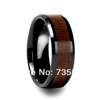 Freeshipping Classic Style Men Dark Brown Wood Rings Ceramic Wood Inlay ring TRX-202 US Size:5/6/7/8/9/10/11/12/13