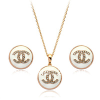 HOT SELL 18 K JEWELRY nacklace and earrings set Italina Rigant 18K Gold Plated  Jewelry Set fashion Lovers Gift