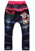 Retail 1 pcs free shipping 2014 Children Minnie jeans new children jeans girls jeans/pants  children wear children's pants