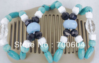 free shipping,New fashion women's wooden Double/twin Magic elastic beaded Hair clips& hair bows Combs wholesale,10PCS/Lot,