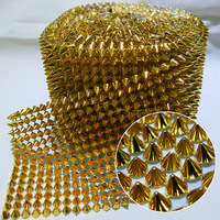 Hot Sale ! Sew On 14Rows High Quality Plastic Golden Shape Rivet  Non Rhinestone Mesh Trim 5yards/roll Plated Surface