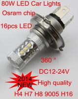 2 x 80W OSRAM Chip  High Power LED Car fog light Daytime Running bulb Brake Turn Tail (white, red, yellow, blue)