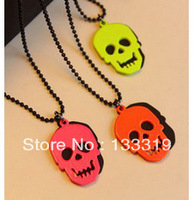 Korean Fashion Wholesale Retro Super Fashion Fluorescent Color Skull Long Necklace Sweater Chain Min.order is $10(mix order)