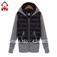Free shipping cheap 2013 fashion winter fashion hooded medium-long plus size twinset wool coat woolen outerwear