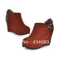 2013 scrub women's genuine leather shoes wedges round toe slip-resistant fashion leopard print casual small short boots boots