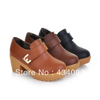 Autumn cheap vintage thick heel round toe women's slip-resistant shoes preppy style all-match high-heeled shoes single shoes