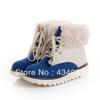 Free shipping cheap Winter boots flat high artificial rabbit fur boots snow boots color block decoration fashion low ankle boots