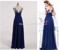 New Blue A-line Scoop Empire Floor-length Wedding Party Evening Dress 2014 Formal dress