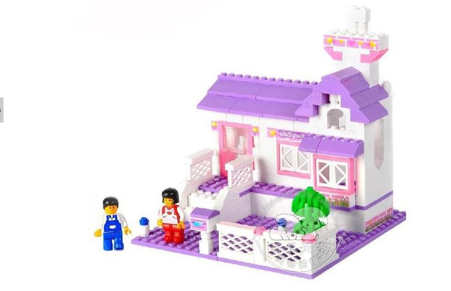 193pcs jogar grandes casa a duas quadras figura e jardim infantil set crianças diy meninos e meninas brinquedos para crianças designer de brinquedos único(China (Mainland))