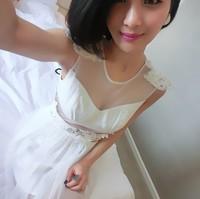 бабочка женщин шифон пэчворк Алмазный Тигр белый рукав платье 002