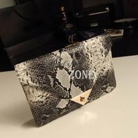2013 New Fashion Women's Synthetic Leather Messenger Bag Snake Skin Envelope Bag Day Clutche Purse Evening Bag 12582