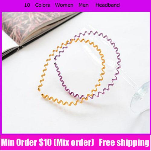 Min . ordem $10 pode misturar a ordem 10 cores dos homens das mulheres tiara de Metal onda Hoop Unisex homens cabeça faixa de cabelo acessórios venda quente(China (Mainland))