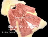 2015 EMS Free Shipping New Natural Real Rex Rabbit Fur Coat Medium-long Outerwear Fashion Women Winter Coat Fur Jacket TF110