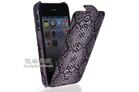GETLAST Luxury Fashion Sexy Python Skin Style Flip Leather Hard Back Case Cover + Screen Protector For  Apple Iphone 4 4G 4S