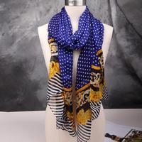New 2014 Brand 100% Silk Scarf Handmade Rim For Women Designer Printed Mulberry Silk Chiffon Scarves Proncho 183x68cm SF0255
