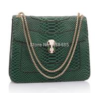 2014 Summer Luxury Chain Bag Snake Head Hasp Designer Famous Brand 100% Cowhide Genuine Leather Women Shoulder Bag Snake Bag