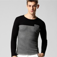 FreeShipping New 2014 big Men's Sweater Splicing Knit Color Block Casual Full Pullovers 3D Top Brand Men Block For Man size MXXL