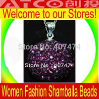 Shambhala  necklace pendant jewelry Wholesale, free shipping, New Shamballa necklace pendant Micro Pave CZ Disco Ball Bead