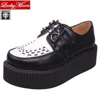 EUR 34~44 Original Brand QueenCity HARAJUKU Style Genuine Leather Flats Creepers Platform Men Women Genuine Leather shoes
