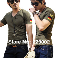 2014 NEW Men brand T-Shirts man printing tshirts fashion V-neck t shirt plus size 5 size M-XXXL Free Shipping
