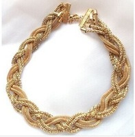 Hot Magical Hot pick Clasp gold chunky Necklace Woven Necklace Factory Wholesale Free Shipping   XL-284