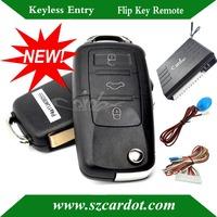 NEW keyless entry with OEM VW flip key,universal model,433mhz,remote lock or unlock,window rolling up,HAA brass car blade key