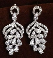 Free Epacket shipping very luxury bling bling AAA clear cubic zircon sparkling stone drop earrings jewelry hollywood