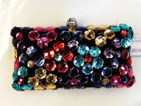 Free Shipping NEW! 2014 ladies High quality Diamond Evening Bags,colourful neon rhinestone  handbags/ Day Clutches/wedding purse