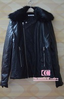 Fashionable Faux PU leather  jackets for men / Autumn and winter  fur collar men jacket / Black cotton-padded slim outerwear