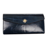 Free shipping!Fashion purse new envelope bag lady long oil wax retro leather paper money clip