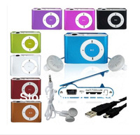 Wholesale 2PCS/LOT Mini Fashoin 7 Color Clip Metal USB TF MP3 Music Media Player + USB Cable With Earphone