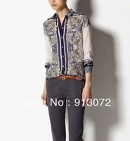 ST781 New Fashion Ladies' elegant vintage Floral striped print blouses OL work Shirts casual shirts slim brand designer tops