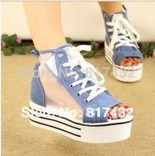 Fashion sandals for women 2013 ladies new style gauze denim rhinestone casual canvas shoes platform sandals free shipping