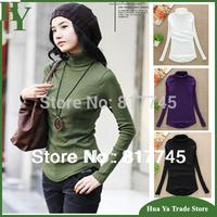 H03 Hot Sale 2014 Fashion Turtleneck Top For Women Korean Long Sleeve Basic T-Shirt