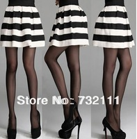 Fashion Womens Girls Mini Dress Retro Flared Black and white stripe Skirt New