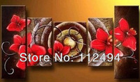 Free shipping Hi-Q abstract modern Wall decor home decoration red flower oil painting 5pcs/Set living room big picture F/036