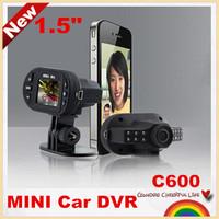 "Hot selling!C600 1.5"" MINI LCD Novatek Car DVR recorder car camera  HD 1080P 25fps 140 Wide Angle/night vision,free shipping!"