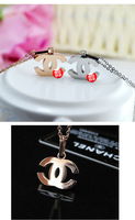 Free Shipping   New Fashion  Rose Gold   Letter  CC Stainless Steel Pendant Chain Necklace