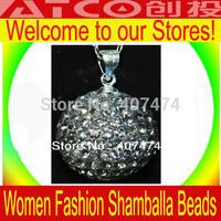 14MM CZ Crystal Shambhala Pendants 925 Sterling Silver, Newest Shamballa Jewelry Micro Pave Ball Bead Pendant 50PCS/LOT
