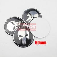 4pcs 60MM Steering Wheel Center Hub Cap Punisher Skull Emblem Badge Decal Symbol Sticker For VW BMW Ford Toyota #2480*4