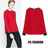 JYL FASHION 2014 Spring/Summer New chiffon leather splice patchwork women clothes shirts,O neck pullover red women top shirt