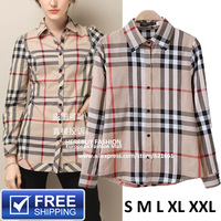 Women's Cotton Blouse With Classical Plaid Pattern Fashion Tops Female Shirts Brand Designer European Style #BSW003