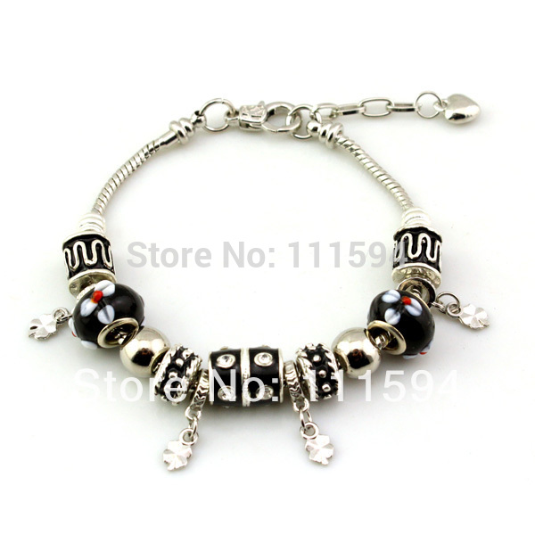 Fast Shipping wholesale pan silver bead Charm Bracelet for women European Style beads bracelet MP010(China (Mainland))