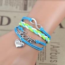 Wedding Sister Bracelet LOVE Heart Infinity Pendant Candy Color Weave Korea Cashmere Sister Bracelet Gift 5