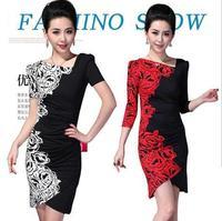 Ol fashion women's 2013 slim elegant V-neck milk, silk one-piece dress