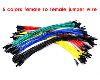 Free shipping 100pcs New 1p to 1p 20cm 5 colors female to female jumper wire Dupont cable for Arduino