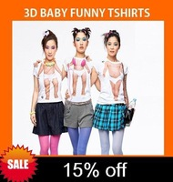 Tight/2014 new Arrive 3D baby funny tshirts,3d t shirt  short sleeve for women,3d printing shirts fashion free shipping