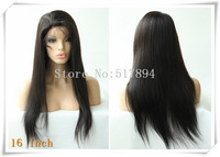 "120% Density! Brazilian Human Hair Glueless Full Lace Wigs #1B Off Black 10""16""YAKI Straight Brown Lace B13"