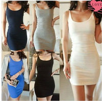 WOMEN'S FASHION BASIC SOLID STRAP MINI SEXY DRESS W3335