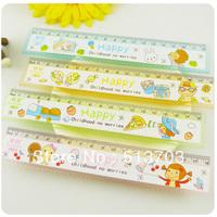 18cm With Wave Line Japan Korea Cartoon Pattern Plastic Straight Ruler Children Student Gift 200pcs/lot